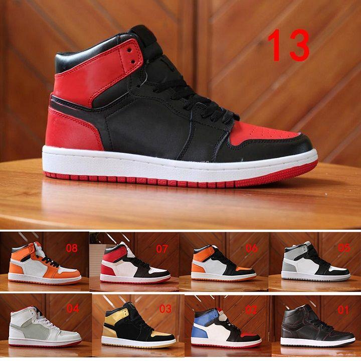 online store de332 a39dd Acheter 2018 Nike Air Jordan 1 Retro Sneakers Nouveau 1 OG Haute Banned Noir  Rouge Blanc Hommes Occasionnels Chaussures De Plein Air 1 S Femmes  Chaussures ...