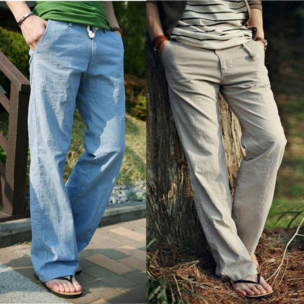 6d01f516a6c 2018 Men Comfort Linen Pants Summer Loose Comfortable Long Trousers ...