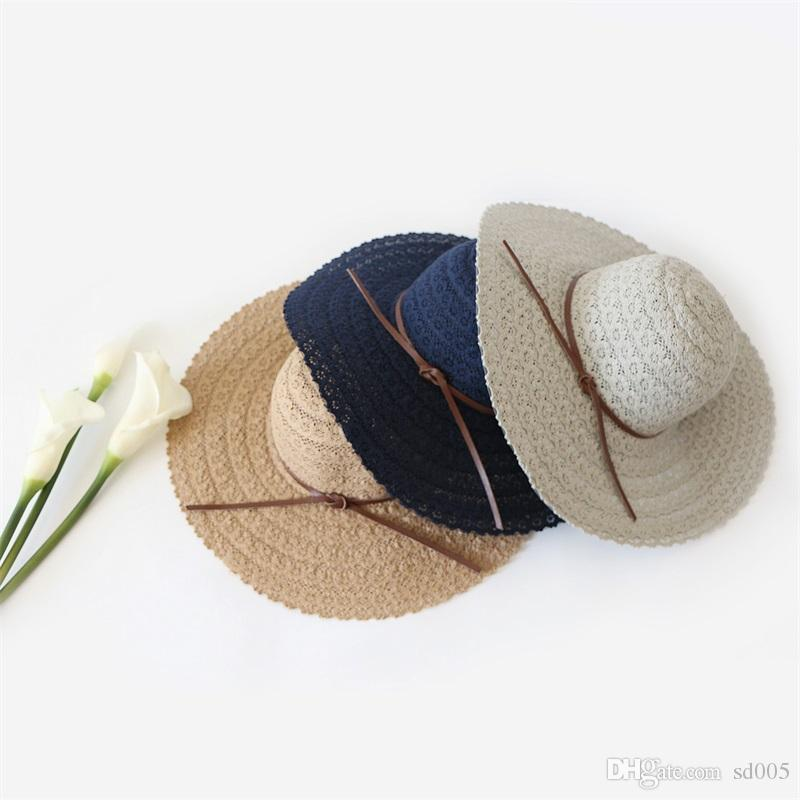 5ba1c3595fff37 Seaside Holiday Sun Hats Beach Hat Outdoors Wide Brim Sunscreen With Lace  Multicolor Cap Embroider Soft Dome Roof 15md Jj Hat World Ladies Hats From  Sd005, ...