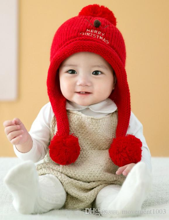 Winter New Style Newborn Baby Warm Thick Hat Of Red Crochet Cap Hat  Christmas Deer Wool Weaving Cute Cartoon 100% Cotton UK 2019 From  Movement1003 38c2e5a7803d