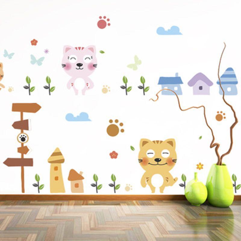 Cartoon Cat Grass Sun Flowers Butterfly Wall Stickers Kids Nursery Room Decor Wall Mural Poster Art Wall Border Skirting Line Decals Graphic