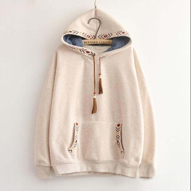 Patchwork Arrow Embroidery Tassel Hooded Thickening Sweatshirt Mori Girl Vintage Pullover luxury Hoodie New Hot Fashion Female