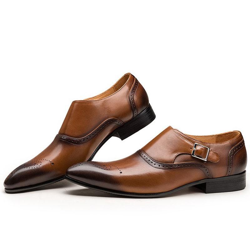 42e002f1 Compre Tamaño Grande 38 48 Diseño De Marca Italiana Hecho A Mano De Cuero  Genuino Hombres Marrón Zapatos Formales Oficina De Negocios Vestido De Boda  ...