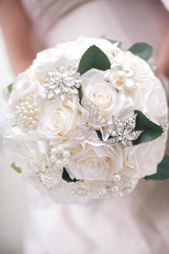 Custom European simulation white rose silver jewelry brooch green leaves wedding bride bridesmaid bouquet
