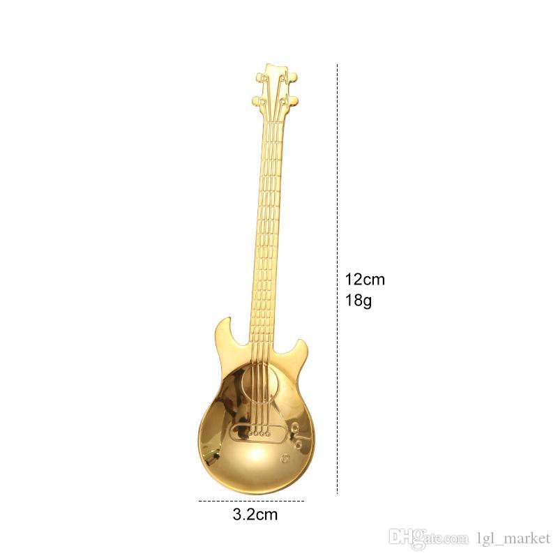 New Create guitar coffee spoon 304 stainless steel coffee scoop Food grade tea spoon coffee accessories teaspoon