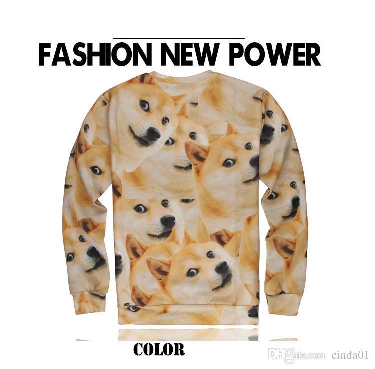 3D 웃긴 강아지 인쇄 남자 후드 남성 긴 소매 풀 오버 봄 Auntumn 스웨터 하이 스트리트 패션 탑 의류