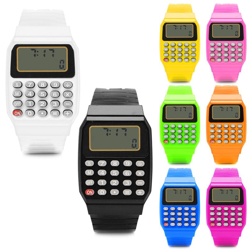 8e6a74840f4 Child Watch Electronic Calculator Wrist Watches Kid Silicone Date Time  Stopwatch LCD Screen Display Relogio Digital Digital Wrist Watches Wrist  Watchs From ...