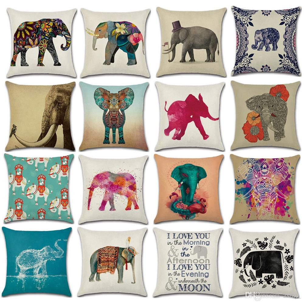 17 designs elephant 4545cm household linen cushion covers bedroom set christmas gifts home decor party decoration cushions for outdoor wicker furniture - Christmas Elephant Outdoor Decoration