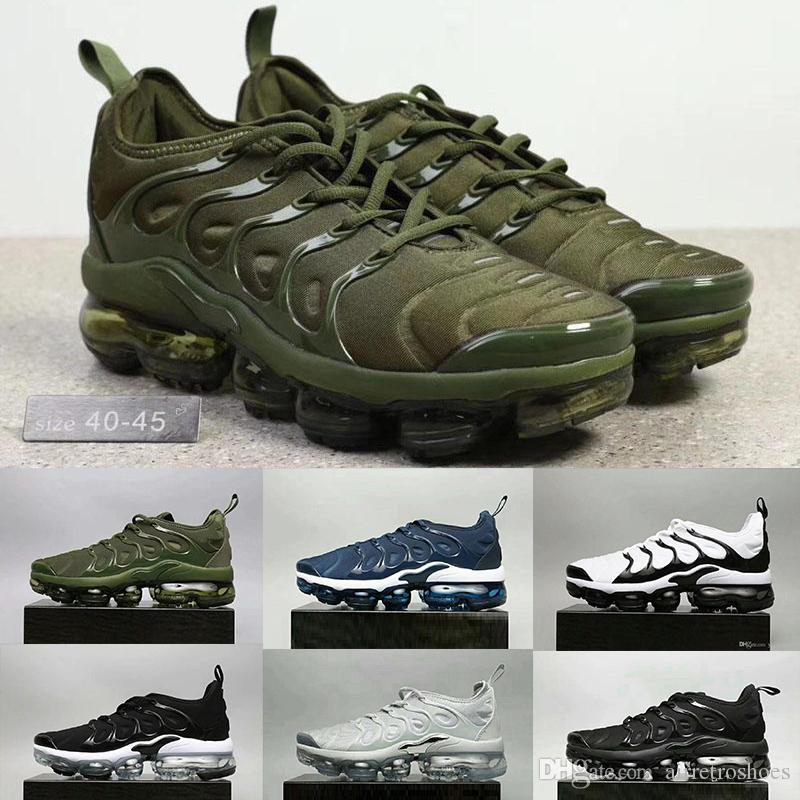 Newest Vapormax TN Plus Shoes Black white Cargo Khaki Men Shoes For Running Male Shoe Pack Triple Black Mens Shoes size 40-45 low shipping fee cheap price free shipping huge surprise EjbMi