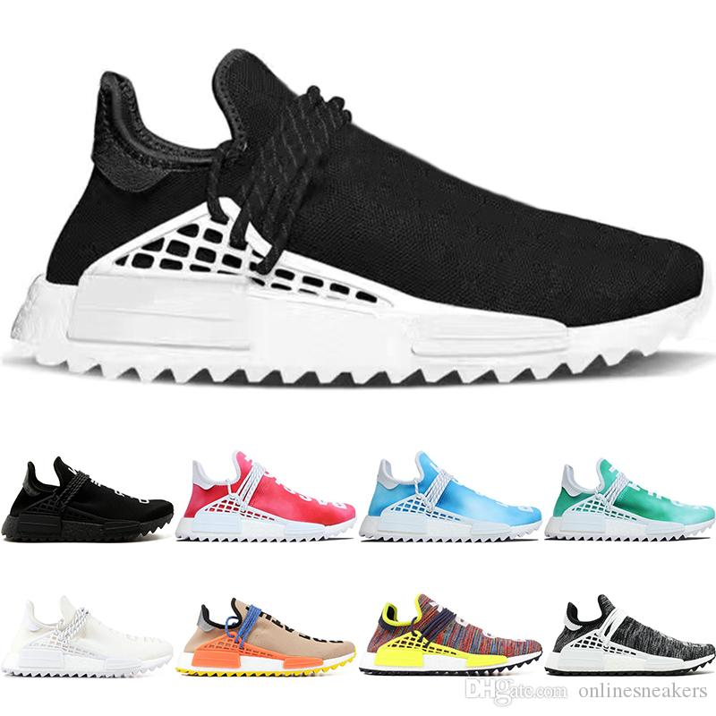 7bbccaca1368 2019 Human Race Trail Running Shoes Men Women Pharrell Williams HU Runner Nerd  Black White Peace Passion Younth Limited Sports Sneakers Size 5 12 From ...