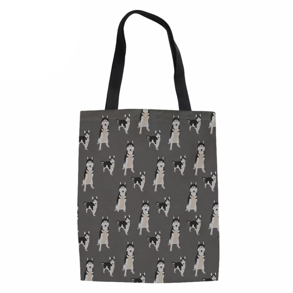 cf5850fd10 Canvas Tote Bags Women Cartoon Husky Printing Reusable Shopping Bag Ladies  Fashion Handbag For Females Large Shop Package Wholesale Purses Cloth Bags  From ...