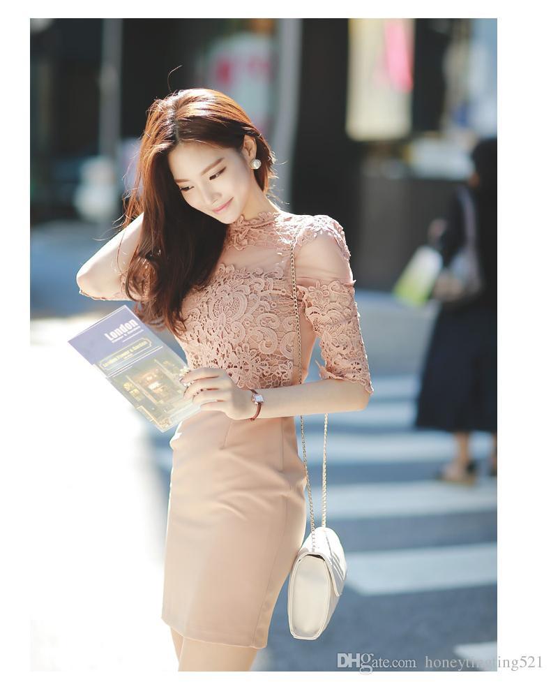 Mezza manica OL coreana di pizzo sexy delle donne sexy di pizzo patchwork floreale nudo vestito corto matita S M L