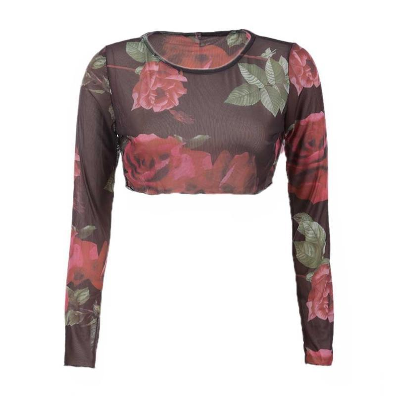 124d87267603b Women Sexy Fashion Rose Print O Neck Gauze Casual Long Sleeve Vintage Crop  Tops Girls Retro Flower Print Casual Short Tops Print On Tee Shirt Go T  Shirts ...