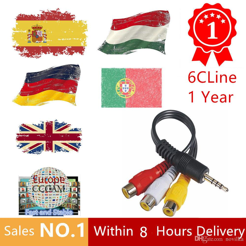 1 Year CCcam Europe 6 Clines Server HD 12 Months account for Spain UK  Germany French Italy Poland Satellite Decoder with AV Cable