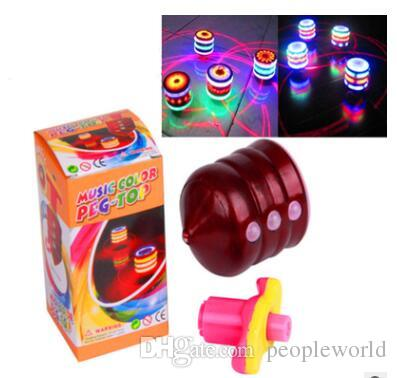 Classic Retro Music LED Gyro Flash Light Peg Top Spinner Laser Kids Toy  Gifts Whirling Kids UFO DHL Free