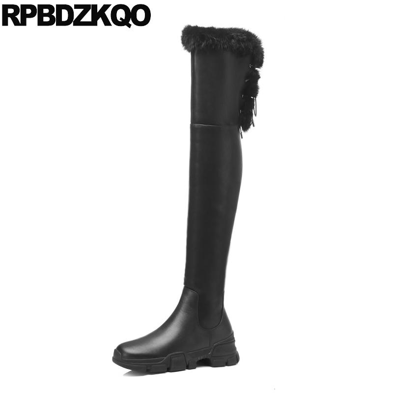 295b4bcd626 Over The Knee Suede Slim Thigh Women Boots Furry Size 4 Black Handmade  Winter Long Shoes High Lace Up Stretch Sheepskin Wedge Chukka Boots Men  Slipper Boots ...