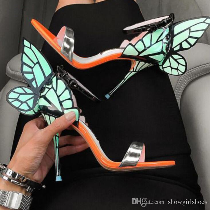Rosa Silber Champagner Schmetterling Flügel Braut Hochzeit Schuhe Schnalle High Heels Damen Sandalen Offene spitze Frauen Pumpen