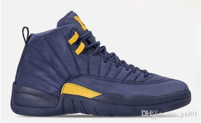 55b0b6f073cf13 2018 New Jumpman XII 12 Michigan Blue Yellow Basketball Shoes For High  Quality Mens Women Pink 12s Suede PSNY Sports Sneakers Size 36 47 Basketball  Games ...