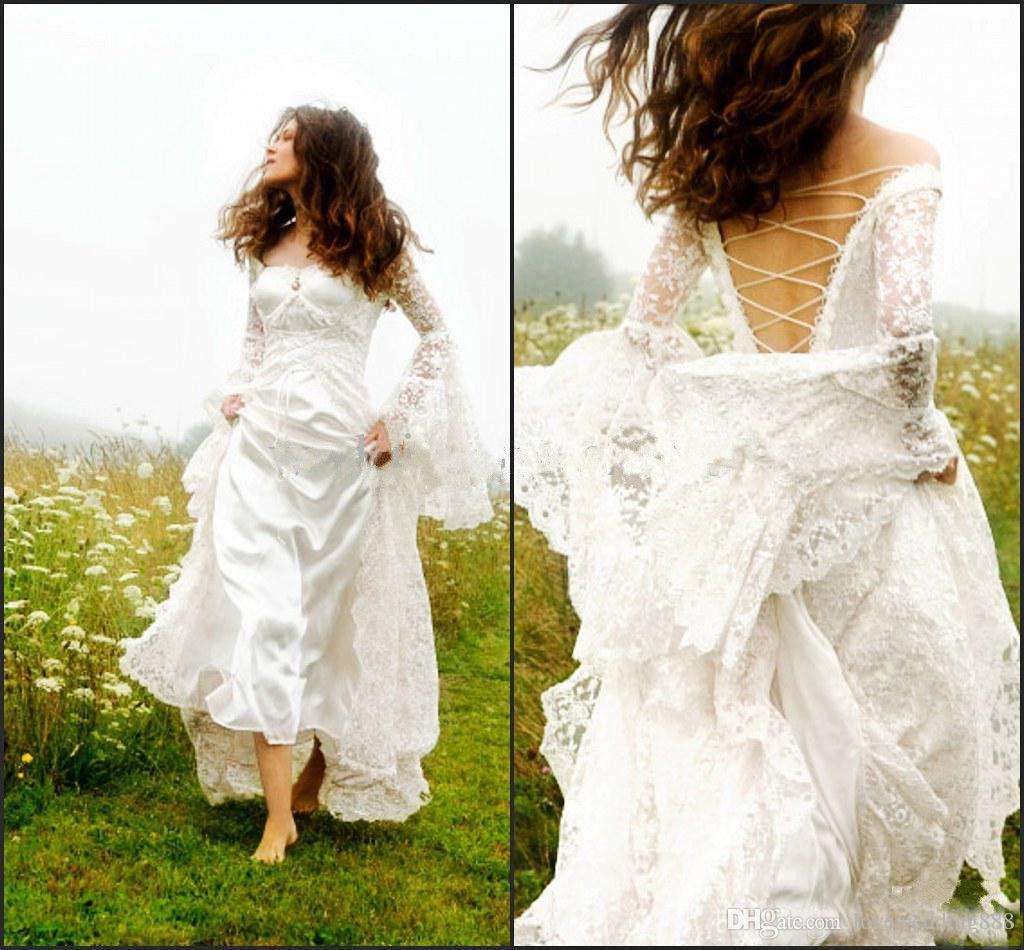 4436d5c364a9 Discount Modern 2017 Gothic Celtic Wedding Dresses Bell Sleeve Lace Up  Corset Medieval Bridal Gown For Garden Country Wedding Gowns And Dresses  Wedding ...