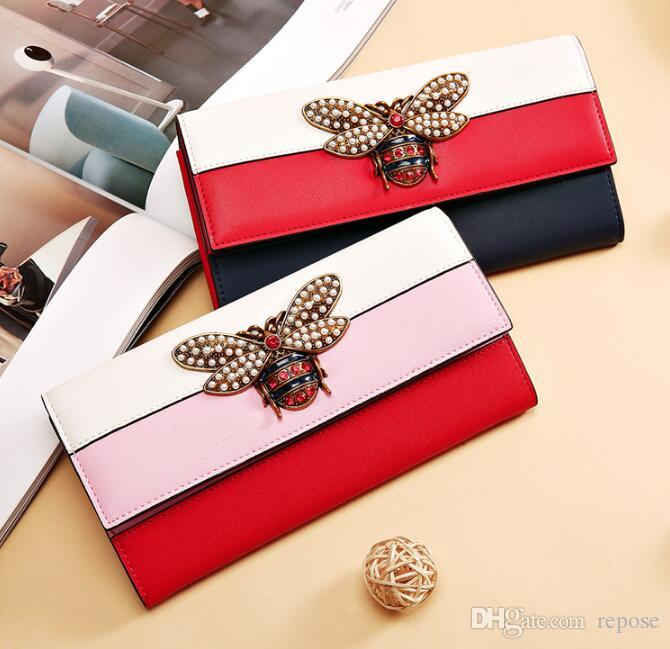 2018 Hot sale lady brand wallet The little bee adorned the woman's leather purse women bag