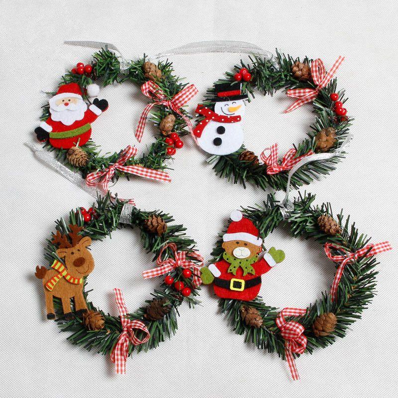 Snowman Christmas Deer Cloth Art Wreath Rattan Reed Wreath Garland  Christmas Decoration Ornaments Party Supplies Home Decor lin4149