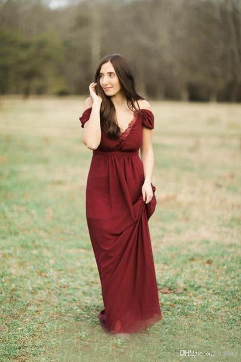 Bohemium Plus Size Bridesmaid Dresses Burgandy Lace