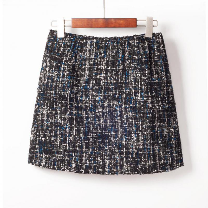d967d75db Nuevo estilo de invierno pequeñas lentejuelas tweed mini falda elegante  cintura alta bolsa falda de la cadera del todo-fósforo lápiz de lana envío  ...