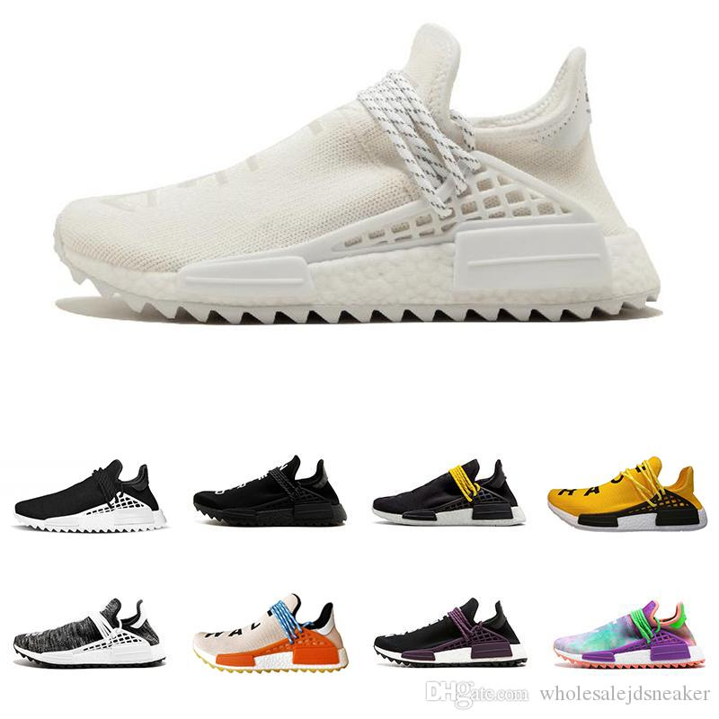 sports shoes 7d63f 79160 human race Pharrell Williams running shoes holi Equality Blank Canvas core  black sun glow yellow red trainers sports Sneakers size 36-45