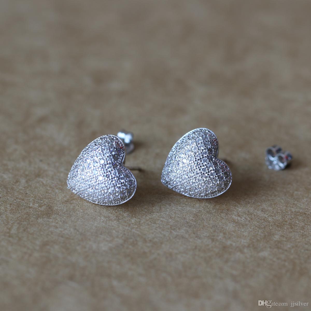 100% 925 Sterling Silver Earrings Jewelry Fashion Tiny CZ Pave Crystal Heart Stud Earrings Gift For Women Girls Kids Lady Fine Jewelry
