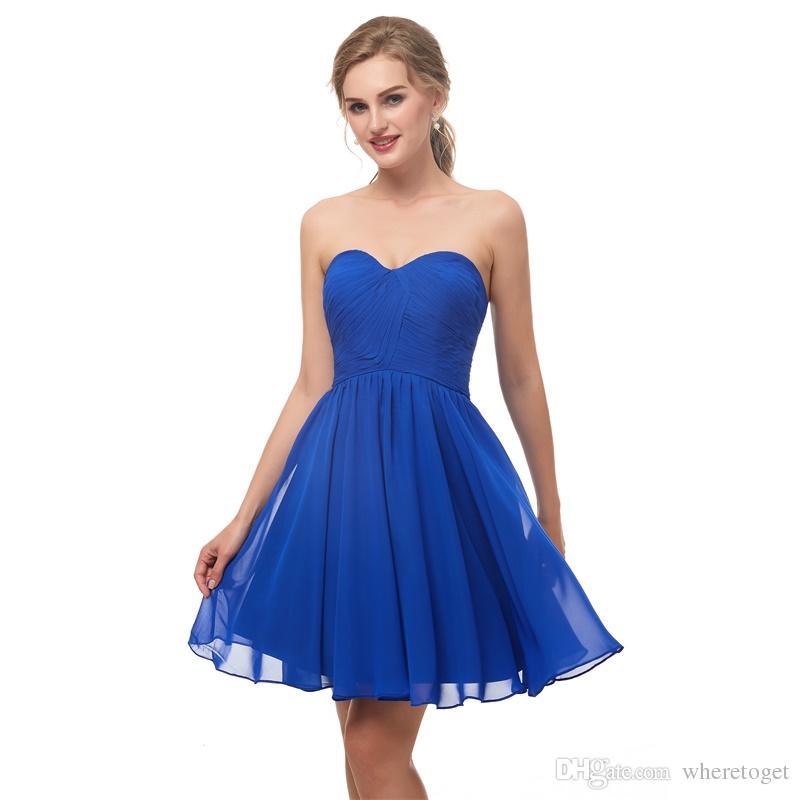 81e1446b30 Compre 2018 Vestidos De Dama De Honor Azules Cortos Por Encima De La Rodilla  Pliegues De Gasa Novia Formal Dama De Honor Vestidos De Fiesta Vestidos De  ...