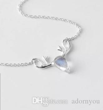 Wholesale s925 silver empty to pendant simple type inlaid with wholesale s925 silver empty to pendant simple type inlaid with moonstone moose necklace and chain meaning a deer has you aloadofball Images