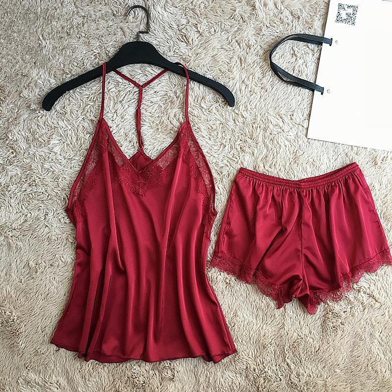 2019 Sexy Ladies Pajamas Set Summer Faux Silk Cami+Shorts Burgundy ... a87c6f445