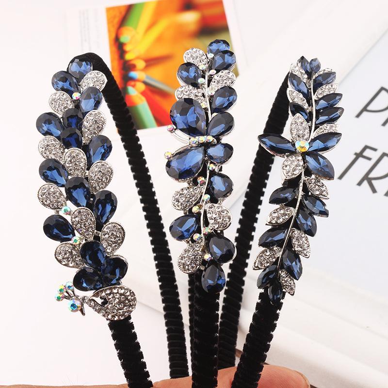 Aleación Rhinestone arco flor mariposa niños mujeres diadema muchachas lindas azul Festival moda accesorios para el cabello hermoso tocado