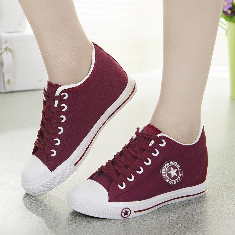 66fb30f72 2019 Casual Summer Wedge Sneakers Women Casual Canvas Shoes Female White  Basket Femme Star Zapatos Mujer Trainers 5 Cm Height Ladies Sheos Dress Shoes  Wedge ...