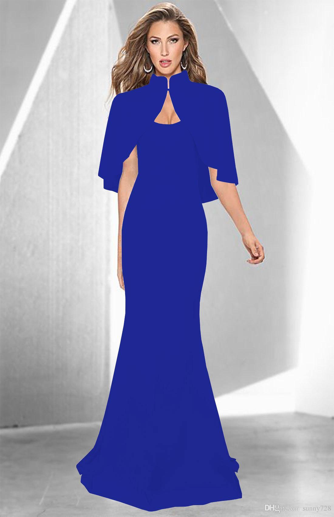 3456b1848 Compre 2018 Vestidos Largos De Noche De Sirena Con Capucha De Cuello Alto  Mangas Hasta El Suelo Vestido De Fiesta De Moda Blanco Negro Rojo Azul  Colores S ...