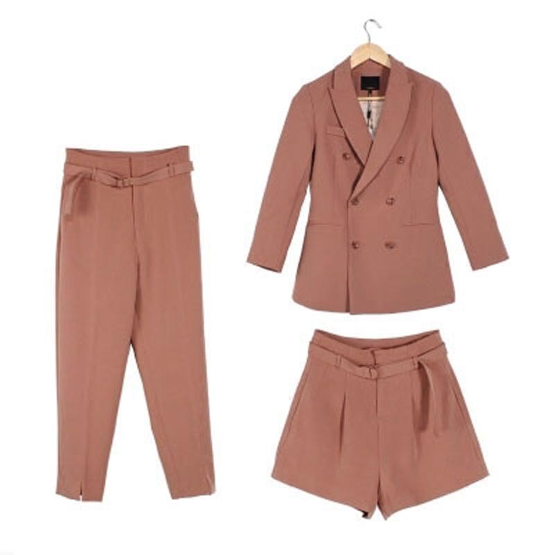 5fbf6ed93790 2019 Women Suit Sets Blazer   9 Points Pants Or Shorts Work Pants ...