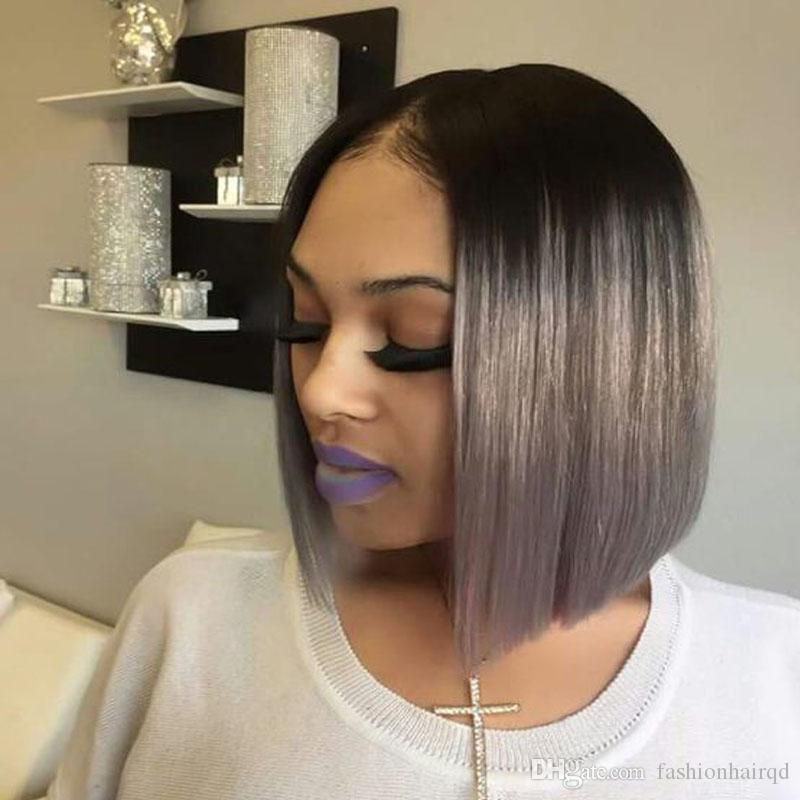 Ombre BOB Full Lace Short Human Hair Wigs Cheap Two Tone Indian Virgin Hair Glueless Lace Front Wigs T1b Pink Red Grey Color