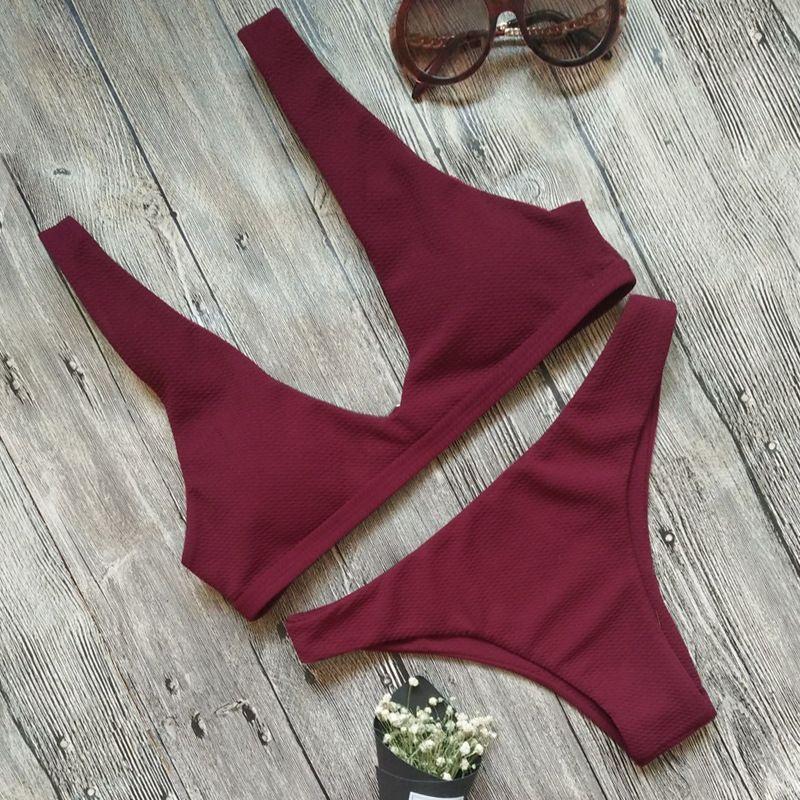 2 teil / satz 2018 Neueste sexy Frauen Lounge Print Dreieck Bikini Sets Ausschneiden Badeanzug Brasilianische Beachwear Mit Push-Up Bikini-B