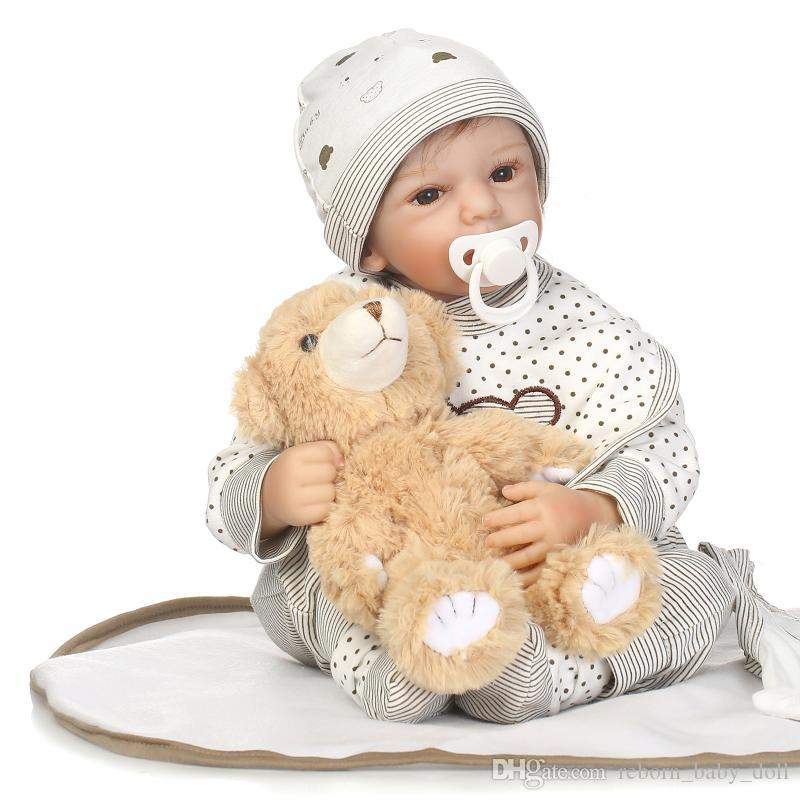 2018 new design doll 22inch reborn baby doll boy doll or gifts lifelike soft silicone vinyl real gentle touch
