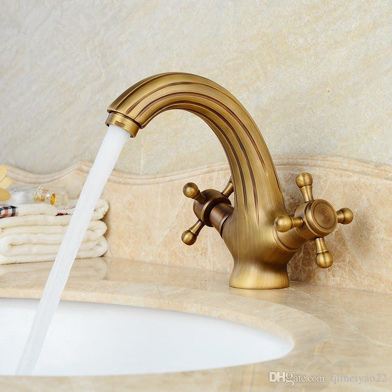 2018 Retro Vintage Antique Solid Brass Bathroom Sink Basin Faucet ...