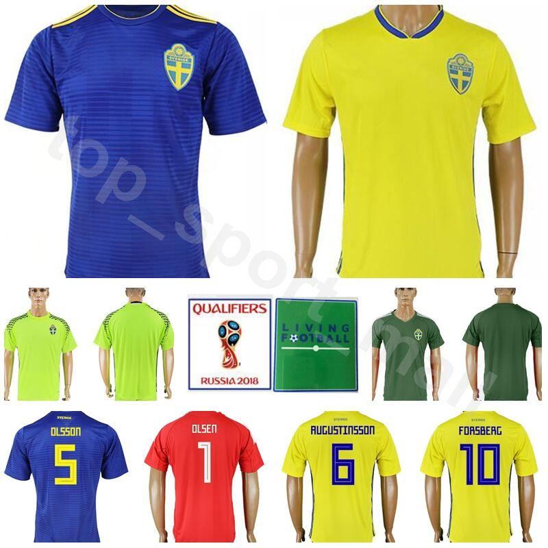 6cde01ad1 2019 Men Sweden Jersey 2018 World Cup 8 EKDAL 10 FORSBERG 1 OLSEN Football  Shirt Kits Goalkeeper 5 OLSSON 6 AUGUSTINSSON National Team Yellow From ...