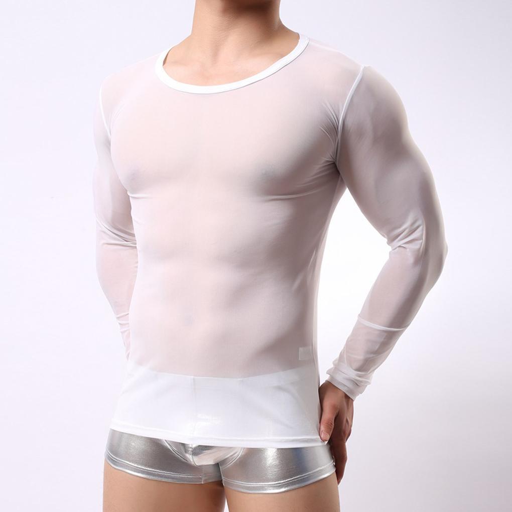 b60a5578cf Beautiful Men's Long Sleeve T-shirt Mesh Lingerie Sheer Transparent Shirt  Tops Tees Spring Autumn