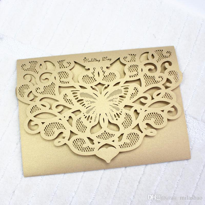 Gold Butterfly Wedding Invitation Card Laser Cutting Engagement ...