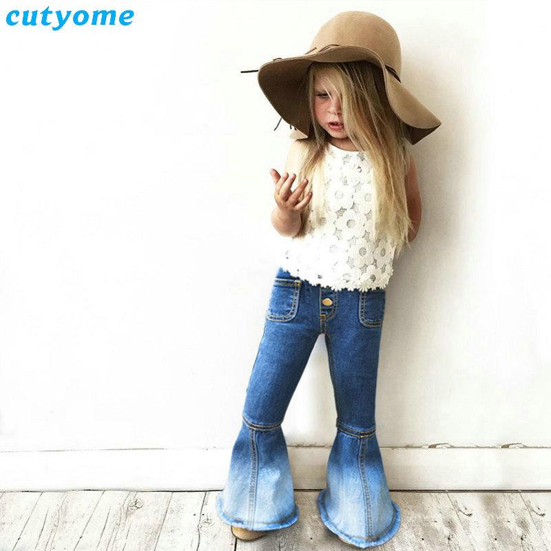 Kids Girls Bell Bottom Jeans Pants Children Elastic Waist Wide Leg Trousers Baby Girl Jeans Party Antique Solid Casual Trousers