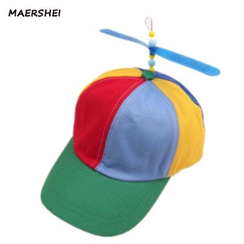 b8ba63e463736 MAERSHEI children s baseball cap propeller bamboo dragonfly hat hipster  boys and girls outdoor sunshade hat curved eaves basebal