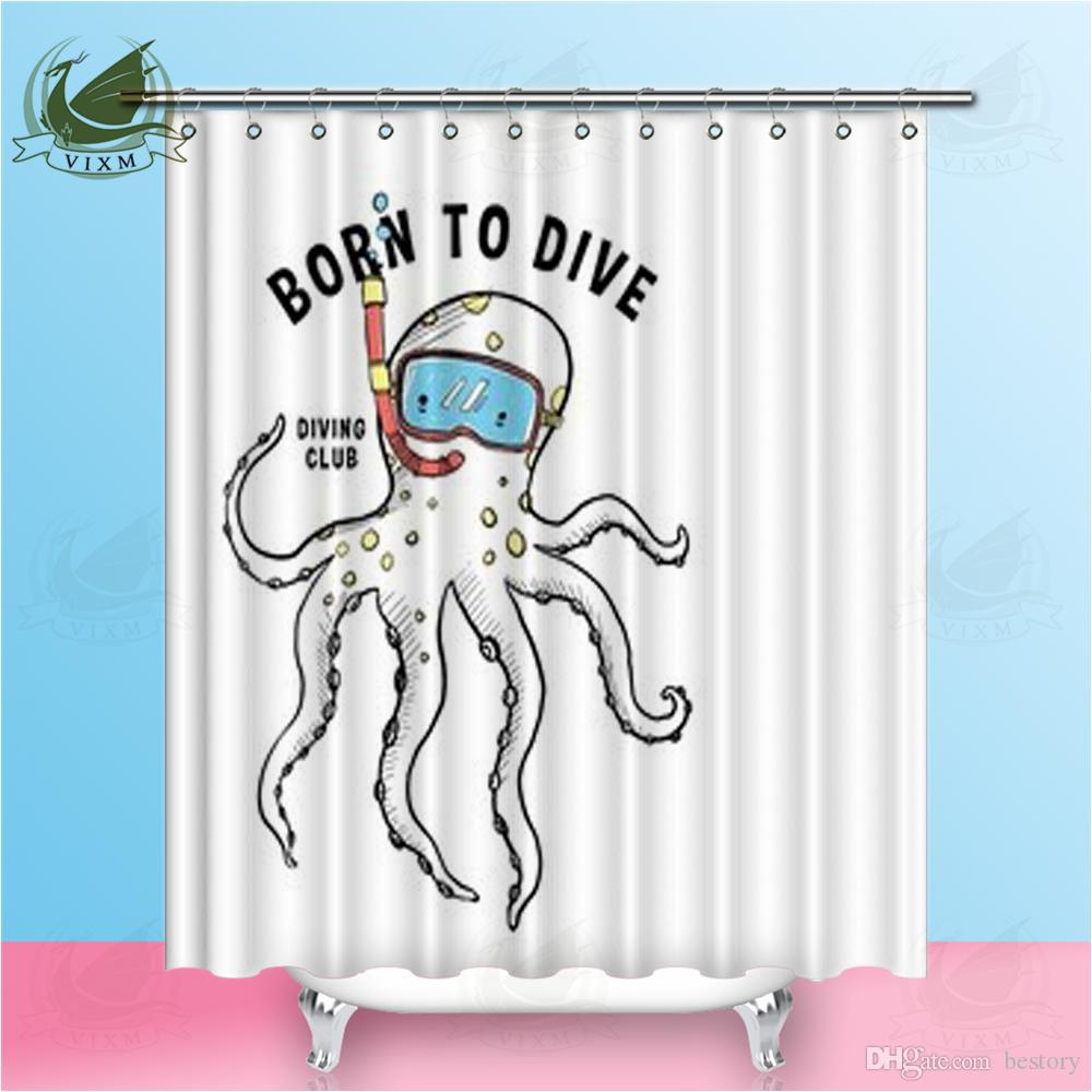 2019 Vixm Home Turtles Shower Curtain Marine Animals Polyester Fiber Printing For Bathroom With Hooks Ring 72 X From Bestory