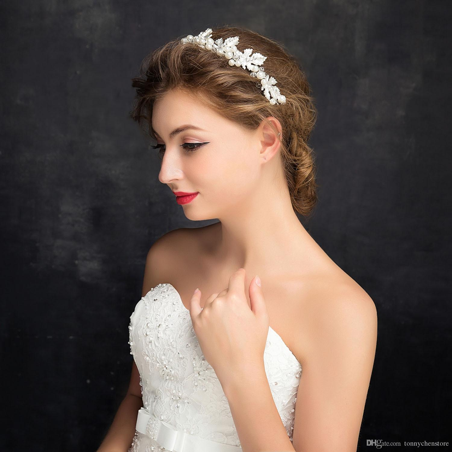 Wedding Hairstyles With Tiara And Veil: 2019 Charming For Women Prarl Wedding Hair Accessories