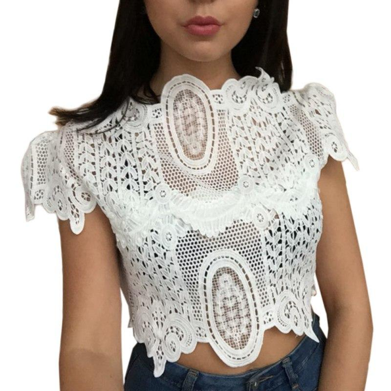 2019 Women Sexy Hollow Out Tank Tops Summer Elegant Lace Crochet