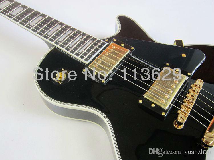 Factory wholesale LP Custom Electric Guitar, Black Beauty, Ebony Fingerboard, Frets End with Binding,Golden Hadware