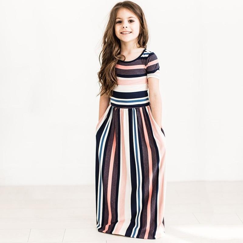 74930ed28f Abbigliamento per bambini Vestito da bambina Vestito lungo da Boho Vestito  lungo da donna Vestito floreale a maniche corte Abiti estivi a fiori per la  ...